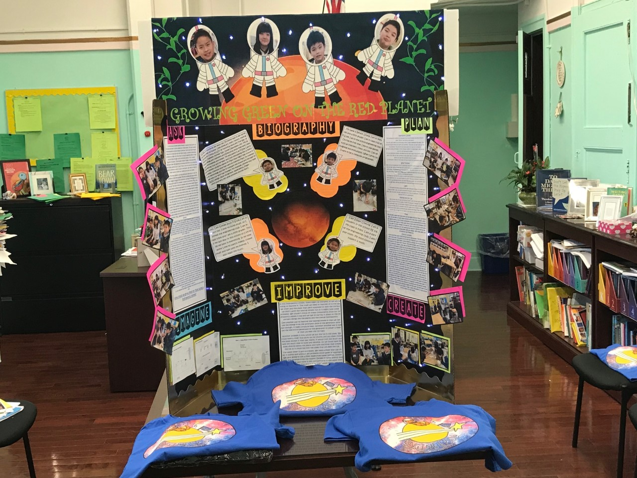Students made bulletin board and researched about Growing Green on the Red Planet for their Maker Faire Project.
