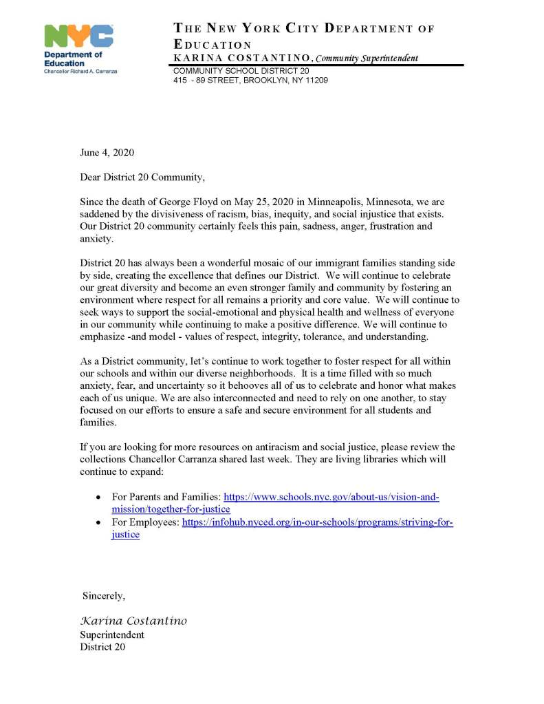 Letter from District 20 regarding the death of George Floyd.
