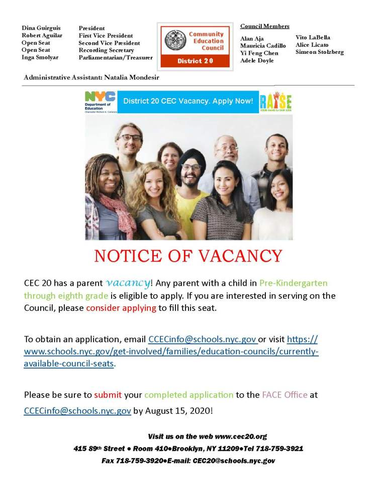 District 20 CEC Vacancy Letter