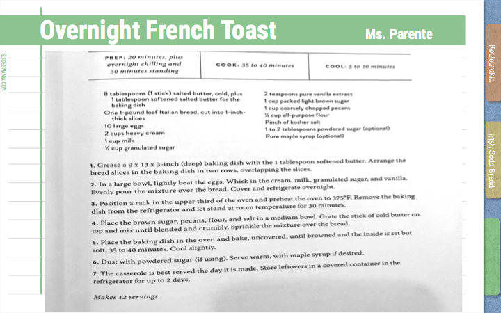 Overnight French Toast Ms. Parente