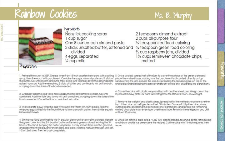 Rainbow Cookies                Ms. B. Murphy                          Ingredients  Preparation