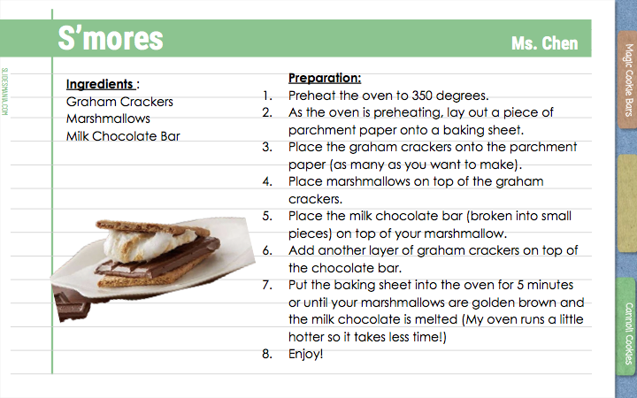 S'mores                  Ms. Chen  Preparation:  Preheat the oven to 350 degrees. As the oven is preheating, lay out a piece of parchment paper onto a baking sheet. Place the graham crackers onto the parchment paper (as many as you want to make). Place marshmallows on top of the graham crackers. Place the milk chocolate bar (broken into small pieces) on top of your marshmallow. Add another layer of graham crackers on top of the chocolate bar. Put the baking sheet into the oven for 5 minutes or until your marshmallows are golden brown and the milk chocolate is melted (My oven runs a little hotter so it takes less time!) Enjoy!  Ingredients : Graham Crackers Marshmallows Milk Chocolate Bar