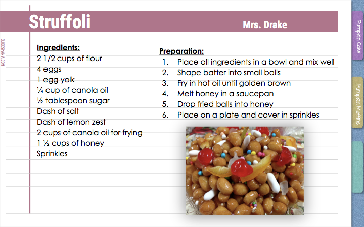 Struffoli Mrs. Drake   Ingredients:  2 1/2 cups of flour 4 eggs 1 egg yolk ¼ cup of canola oil ½ tablespoon sugar Dash of salt Dash of lemon zest 2 cups of canola oil for frying 1 ½ cups of honey Sprinkles   Preparation:  Place all ingredients in a bowl and mix well    Shape batter into small balls Fry in hot oil until golden brown Melt honey in a saucepan  Drop fried balls into honey  Place on a plate and cover in sprinkles