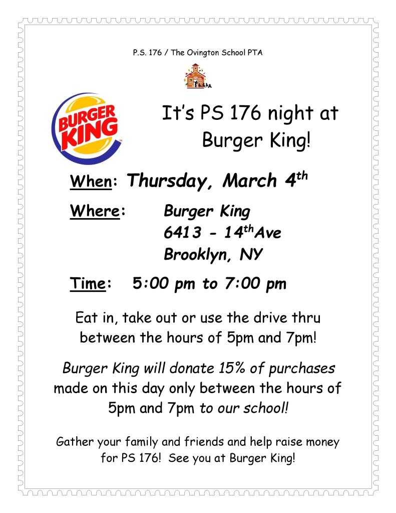 P.S. 176 Burger King Night Flyer